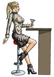 Girl sitting by the bar Stock Image