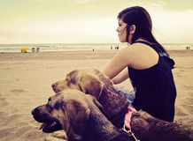 Girl sitting in the beach. Teenager  sitting in the beach of Mar del PLata, Argentina with her two dogs, looking to the sea Stock Image