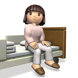 Girl sitting on bed was completely healed. Stock Photography