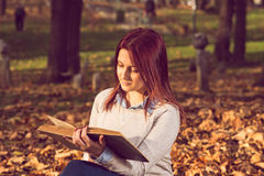 Girl sitting on bench in ark and reading a book. Happy redhead girl sitting,smiling and reading a book on bench in park Royalty Free Stock Image