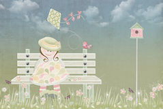 Girl sitting on bench with bird and kite Stock Images