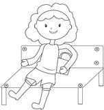 Girl sitting on a bench coloring page Stock Photo