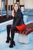 Girl Sitting on Bench Royalty Free Stock Photos