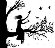 Girl sitting on big tree branch an holding the pigeons flying to her, autumn wind and birds silhouette, secret place. Childhood memory, dream, vector stock illustration