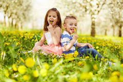 Girl sitting with boy Stock Image