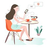 The girl is sitting in cafe. communicates in a social network. green background royalty free illustration