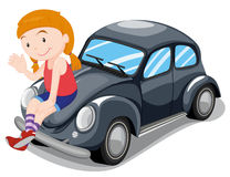 Girl sitting on car Stock Images