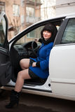 Girl  sitting in  car Royalty Free Stock Photos