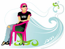 Girl sitting in the chair. Vector girl sitting in the chair on wave background Stock Photos