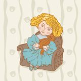 Girl sitting in chair with her teddy bear Royalty Free Stock Image