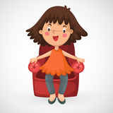 Girl sitting chair Stock Photography