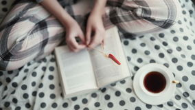 Girl sitting on checkered plaid near old books and  cookies. stock footage