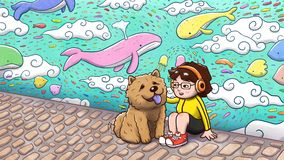 Girl sitting with a chow chow dog with graffiti wall in background. Digital watercolor illustration of a girl sitting petting her chow chow dog in front of a Royalty Free Stock Image