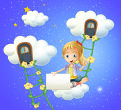 A girl sitting on a cloud holding an empty signage Stock Photo