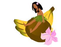 Girl Sitting on Coconut. A girl wearing a coconut bra and grass skirt sits on a giant coconut, next to a large flower and a bunch of bananas Stock Images