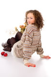 Girl sitting comfortably and is heated Royalty Free Stock Image