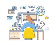 Girl sitting at desk with computer and watching or listening to webinar, internet lecture, video podcast. Back view. Self education online. Colored vector stock illustration