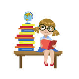 Girl Sitting On The Desk Reading A Book Stock Image