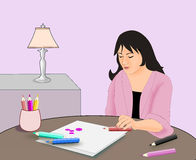 Girl sitting and drawing. Royalty Free Stock Images