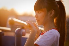 Girl, Sitting, Drinking, Musical Instrument Stock Images