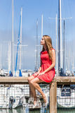 Girl in a yachting marina Royalty Free Stock Photos