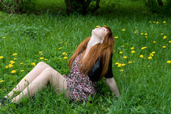 Girl sitting on a field of dandelions Stock Images