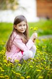 Girl sitting in field of flowers Stock Image
