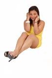 Girl sitting on floor. Stock Image