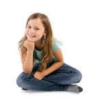 Girl sitting on floor Royalty Free Stock Image