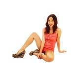 Girl sitting on floor. Royalty Free Stock Photos