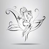 Girl sitting on a flower. Vector illustration Royalty Free Stock Images