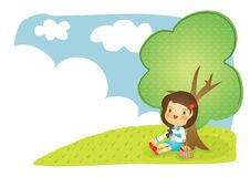 girl sitting in garden. Vector illustration decorative design