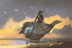 Girl sitting on giant futuristic bird. Young girl sitting on giant futuristic bird, digital art style, illustration painting Stock Photography
