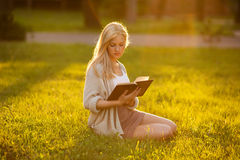 Girl sitting on the grass and reading a book Royalty Free Stock Image