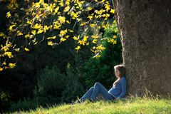 Girl sitting on the grass under maple tree in autumn Royalty Free Stock Photography