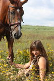 Girl sitting on the ground and chestnut horse standing near Stock Photography