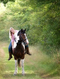Girl Sitting On Her Horse Royalty Free Stock Photos