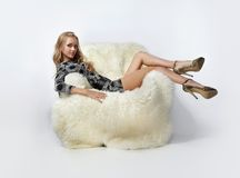 Free Girl Sitting In Arm-chair Stock Photo - 12270470