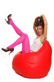 Girl Sitting In Bean Bag Stock Image