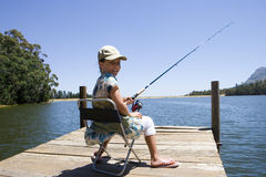 Girl (7-9) sitting on jetty, fishing in lake, smiling, rear view, portrait Royalty Free Stock Photos