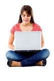 Girl sitting with a laptop Royalty Free Stock Photography