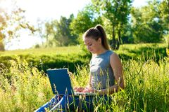 Girl sitting with a laptop outdoors among the green grass. royalty free stock images