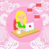 Girl sitting with a laptop at the table and gets love letters. v. Girl sitting with a laptop at the table and gets love letters. floral background Stock Photos