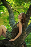 Girl sitting on large tree Royalty Free Stock Photography