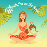 Girl is sitting in a lotus pose on the beach Stock Images