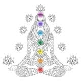 Girl sitting in lotus pose with chakras.  Vector ornate boho wom Royalty Free Stock Photography