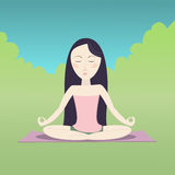 Girl sitting in the lotus pose and meditating. Vector cartoon illustration Royalty Free Stock Photography