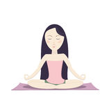 Girl sitting in the lotus pose and meditating. Vector cartoon illustration Stock Image
