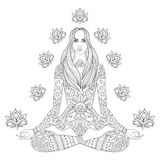 Girl sitting in lotus pose.  Vector ornate boho woman with lotus Royalty Free Stock Photos