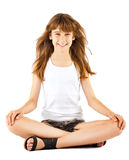 Girl sitting in lotus position Stock Image